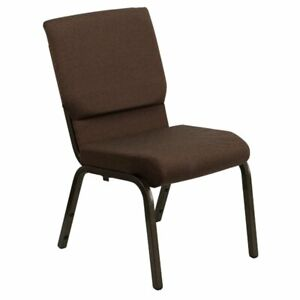 Flash Furniture Fabric Church Stacking Chair in Brown and Goldvein