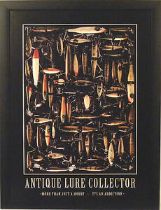 ANTIQUE LURE COLLECTOR 20x26 FRAMED PRINT PICTURE Heddon Dingbat Creek Chub