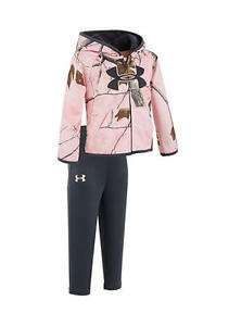 Under Armour Baby Girls Pink Camo Hoodie & Pants Set size: 36 M 1297383 650 NWT