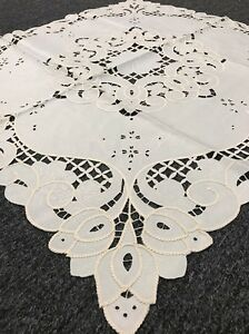 Beige Ivory Embroidered Cotton Polyester 45x45quot; Embroidery Cutwork Tablecloth