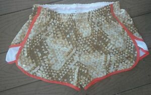 Under Armour Semi-fitted Heat Gear Running Shorts lined Geo Gold Women's Med