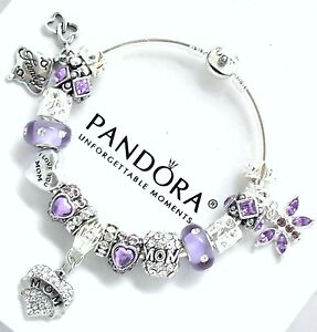 Authentic PANDORA Charm Bracelet Silver MOM Purple European Charms Christmas