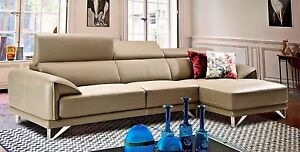 2 PC Italian Top Grain Gray Leather Sofa Chaise Chair Sectional Living Room Set