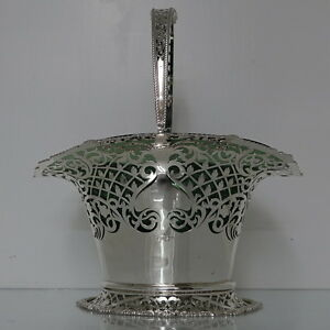 Early 20th Century Sterling Silver Antique Edwardian Cake BasketFlower Vase