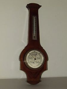 Antique English Mahogany w Maple Inlay Banjo Wall Barometer Thermometer England