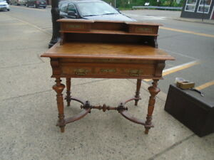 Antique 19th Cent Victorian Flat Top Desk Secretary With Gallery Herter Bros Era