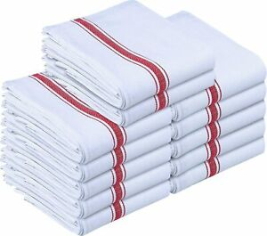 Dish Towels 12 White Cotton Striped 15 x 25 Kitchen Tea Towels Utopia Towels