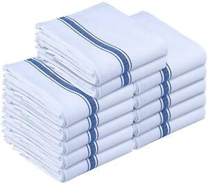 Dish Towels 12 White Cotton Striped 15 x 25 Kitchen Tea Towels Utopia Towels $13.98