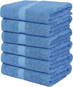 Pack 6 Cotton Bath Towels 22x44 Inch Super Absorbent For Pool Spa Utopia Towels
