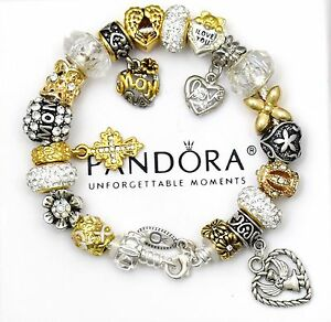 Authentic Pandora Sterling Silver Bracelet Mom Angel Gold European Charms New