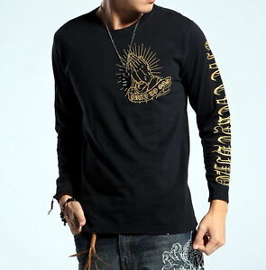 New T Shirt Long Sleeve Japanese Pattern Embroidery Pray To God Virgin Mary