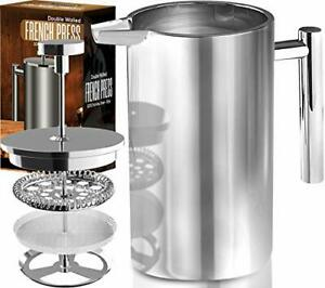 32 Oz French Press Coffee Maker Double Wall Stainless Steel Utopia Kitchen $19.98