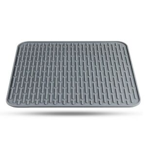 NEW Orblue Silicone Dish Drying Mat Gray Draining Mat for Kitchen Counter