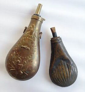 2 Brass Powder Flask -- Vintage Hunting Collectible