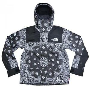 SUPREME x THE NORTH FACE Black Bandana Mountain Parka Pattern Hoodie Jacket S