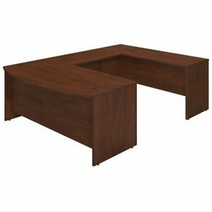Series C Elite 72W x 36D Bowfront U Station Desk Shell in Cherry