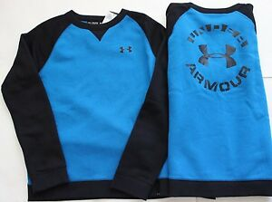 Under Armour XL YXL Sweatshirt Fleece Blue Black FREE NWT Boy's