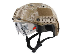 Tactical Fast Helmet BJ Airsoft Military NVG Mount Goggles Visor ACU