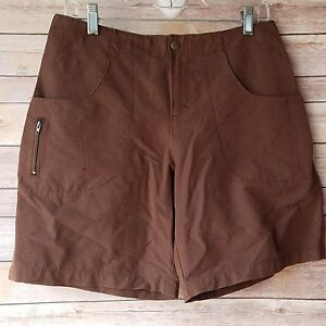 Title Nine Womens Nylon Brown Stretch Shorts Hiking Outdoors Active Size 8