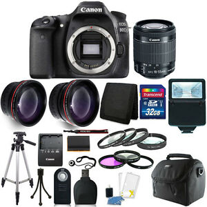 Canon EOS 80D 24.2MP Digital SLR Camera with 18-55mm Lens + 16GB Top Kit