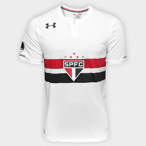 Sao Paulo Home w Patch Soccer Football Jersey Shirt - 2017 Under Armour Brazil
