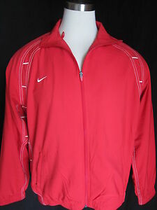 NIKE Dry Fit Sportwear MensRed Full Zip Windbreaker Jacket Coat Shirt LARGE NWOT