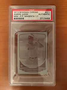 2013 Bowman Chrome Mini #311 Aaron Judge MAGENTA PRINTING PLATE 11 PSA