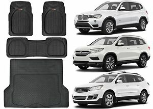 4pc Front Rear Cargo Universal Rubber Floor Mats New Free Shipping USA