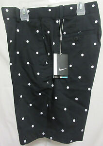NWT NIKE Golf Dri-Fit Men's FF Shorts 38W - Black w White Polka Dots $100 MSRP