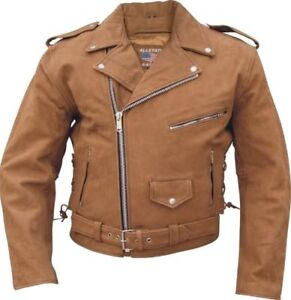 Men's motorcycle brown Buffalo Leather three front zippered pockets jacket