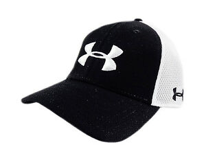 NEW Under Armour Golf Spacer Mesh BlackWhite Mens Fitted SM HatCap