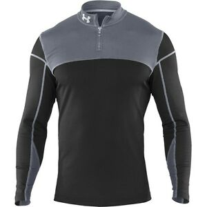 (Small BlackGrey) - Under Armour CG Men's Shirt Thermal with 14 Zip. Best Pri