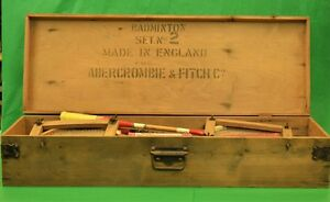 Vintage Abercrombie & Fitch c1935 Spaldings Badminton Set No 2 Made in England