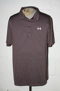 EUC Under Armour Loose Heat Gear Cold Black Purple Gray Striped Polo Shirt XXL