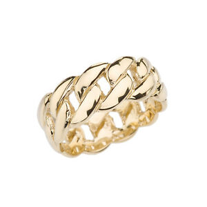 Fine 10k Yellow Gold 8 mm Cuban Link Band Unisex Ring