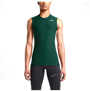 RARE! NIKE MENS DRI-FIT RUNNING SLEEVELESS TIGHT FIT TANK TOP SHIRT GREEN -LARGE