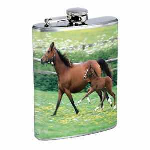 Horse Flask D5 8oz Stainless Steel Pony Mustang Thoroughbred Mare Colt Stallion