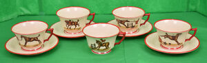 9pc Set of Frank Vosmansky for Abercrombie & Fitch Cup & Saucer Foxhunt Set