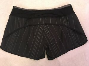 Lululemon Speed Shorts 10 Womens Black Striped Lined Running Zip Pocket