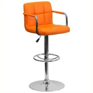 Flash Furniture Quilted Adjustable Bar Stool with Arms in Orange