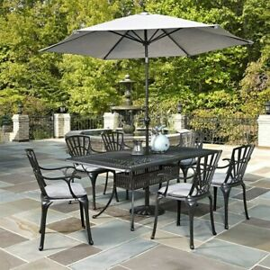Home Styles Largo 8 Piece Patio Dining Set with Umbrella in Charcoal