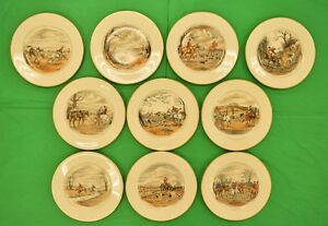 Amazing Set of 10 Abercrombie & Fitch Fox Hunt Dinner Plates by Cyril Gorainoff