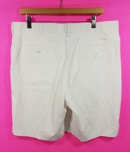 Men's Nike Golf Dri Fit Dry Solid White Athletic Flat Front Shorts Waist Size 36