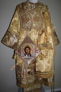 Orthodox Bishop's Vestments Metallic Brocade with Embroidery Gold TO ORDER