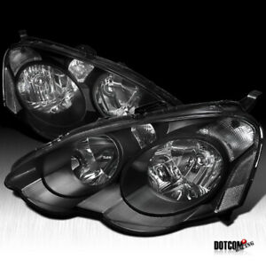 Fit 2002 2004 Acura RSX DC5 Black JDM HeadLights Driving Head Lamps Pair $108.99