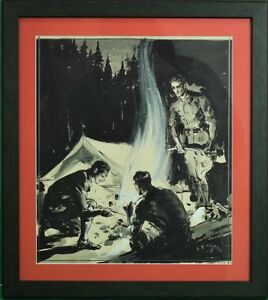 Abercrombie & Fitch Camping Gouache Signed E.V. Hilleary & Dated 1935
