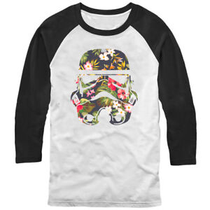 Star Wars Tropical Stormtrooper Mens Graphic Baseball Tee