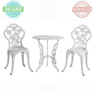 Outdoor Patio Bistro Set Cast Aluminum 2-chairs Round 1-Table Weather Resistant