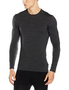 (Medium Jet HTHRBlack) - Icebreaker Anatomica Men's Running Shirt Crew Neck