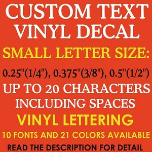 1 4quot; 3 8quot; 1 2quot; 0.25quot; 0.375quot; 0.5quot; CUSTOM Vinyl Decal Toy Model Name Number $3.95